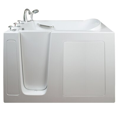 Narrow Wide Air and Hydro Massage Whirlpool Walk-In Tub Drain Location: Left