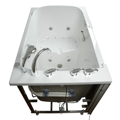 Bariatric Seat Air and Hydro Massage Whirlpool Walk-In Tub Drain Location: Left