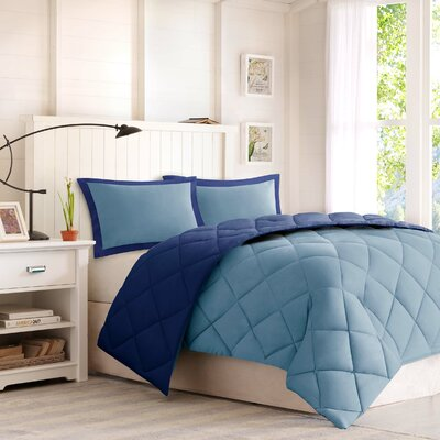 Larkspur Down Alternative Comforter Set Size: King, Color: Navy / Light Blue