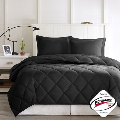 Larkspur Down Alternative Comforter Set Size: King, Color: Black/Black
