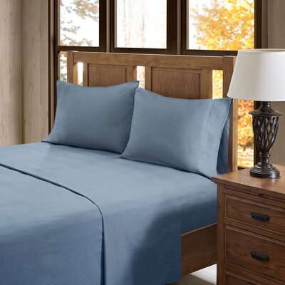 Akiva Solid 100% Cotton Sheet Set Color: Blue