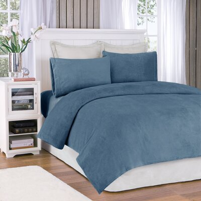Plush Sheet Set Size: King, Color: Sapphire