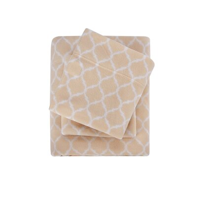 Madeline Ultra Soft Micro Fleece Sheet Set Size: King, Color: Tan Ogee