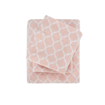 Madeline Ultra Soft Micro Fleece Sheet Set Size: Queen, Color: Blush Ogee