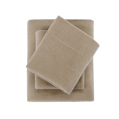 Karthic Ultra Soft Micro Fleece Sheet Set Size: King, Color: Tan Chevron