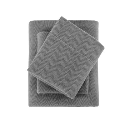 Karthic Ultra Soft Micro Fleece Sheet Set Size: Queen, Color: Gray Chevron