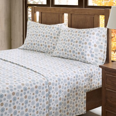 Akiva 100% Cotton Sheet Set Color: Tan/Blue