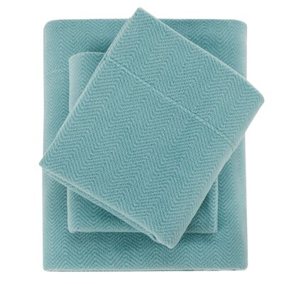 Karthic Ultra Soft Micro Fleece Sheet Set Size: Full, Color: Blue Chevron