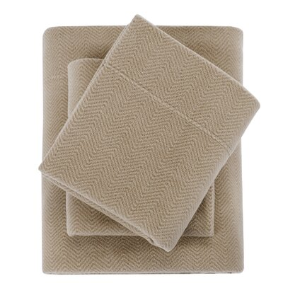 Karthic Ultra Soft Micro Fleece Sheet Set Size: Twin, Color: Tan Chevron