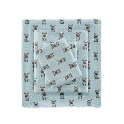 Hardcastle Cozy Printed 100% Cotton Sheet Set Size: King, Color: Aqua