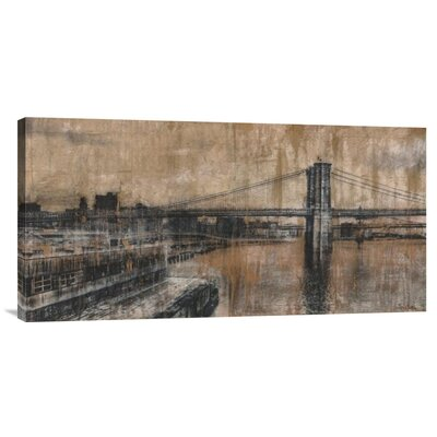 'Brooklyn Bridge 1' by Dario Moschetta Painting Print on Wrapped Canvas
