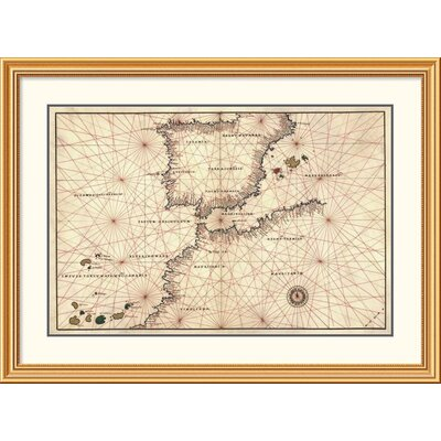 'Portolan or Navigational Map of the Spain, Gibraltar & North Africa' Framed Print EAAE9493 39374721