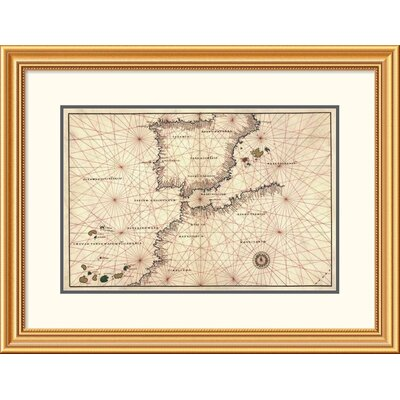 'Portolan or Navigational Map of the Spain, Gibraltar & North Africa' Framed Print EAAE9493 39374719