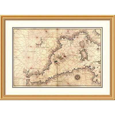 'Portolan or Navigational Map of the Western Mediterranean from Gibraltar to Piedmont & Sardinia' Framed Print EAAE8571 39371412