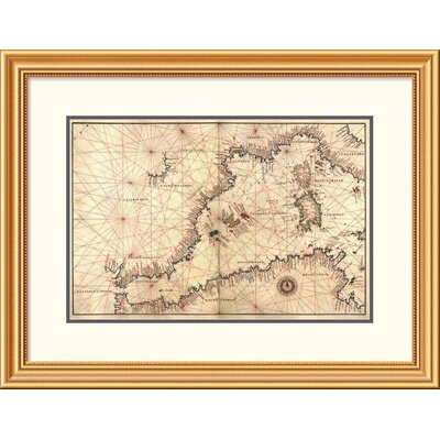 'Portolan or Navigational Map of the Western Mediterranean from Gibraltar to Piedmont & Sardinia' Framed Print EAAE8571 39371410