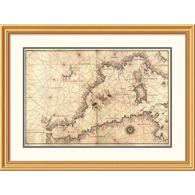 'Portolan or Navigational Map of the Western Mediterranean from Gibraltar to Piedmont & Sardinia' Framed Print EAAE8571 39371411