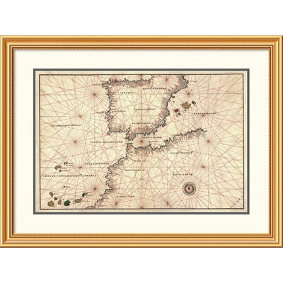 'Portolan or Navigational Map of the Spain, Gibraltar & North Africa' Framed Print EAAE9493 39374720