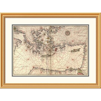 'Portolan or Navigational Map of Greece, the Mediterranean and the Levant' Framed Print EAAE8572 39371414