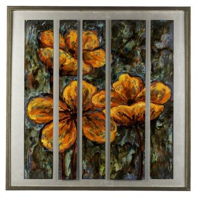 Flowers Framed Original Painting In Orange