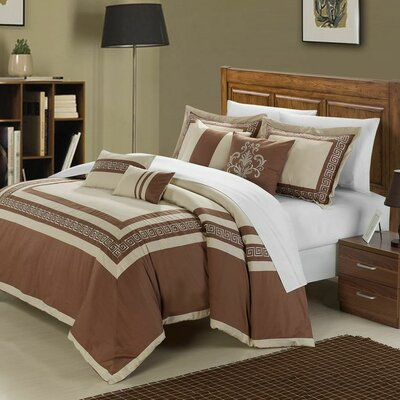 Venice 11 Piece Comforter Set Size: Queen, Color: Taupe