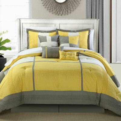Dorchester 12 Piece Comforter Set Color: Yellow, Size: Queen