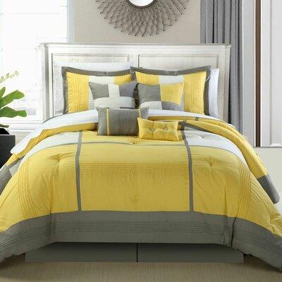Dorchester 8 Piece Comforter Set Color: Yellow, Size: Queen