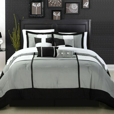 Dorchester 12 Piece Comforter Set Size: King, Color: Black