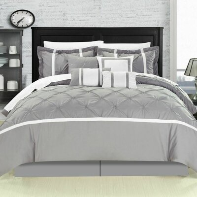 Charissa 12 Piece Comforter Set Size: Queen, Color: Grey