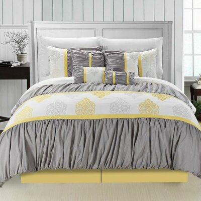 Precious 12 Piece Comforter Set Size: King, Color: Yellow