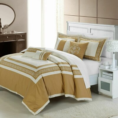 Venice 7 Piece Comforter Set Color: Beige / Gold, Size: Queen