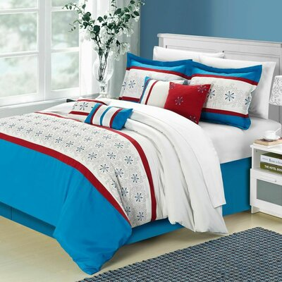 Bella Rose 12 Piece Comforter Set Color: Blue, Size: Queen