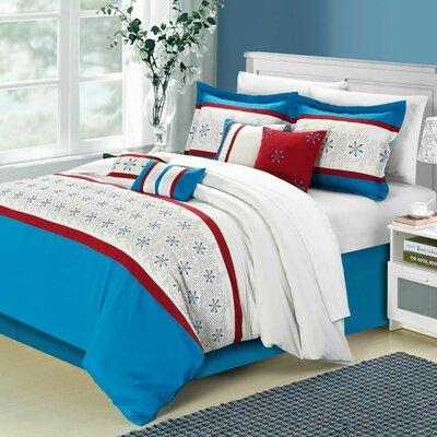 Bella Rose 8 Piece Comforter Set Color: Blue, Size: Queen