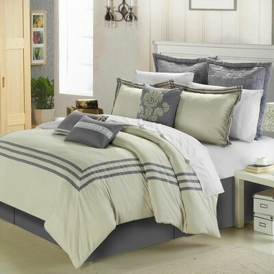 Chic Home Cosmo 12 Piece Comforter Set - Size: King, Color: Silver / Beige