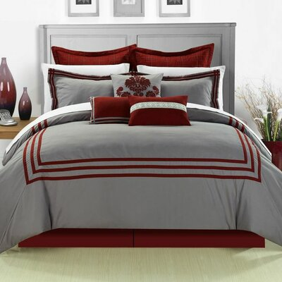 Cosmo 8 Piece Comforter Set Size: Queen, Color: Red