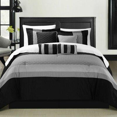 Diamante 12 Piece Comforter Set Size: King, Color: Black