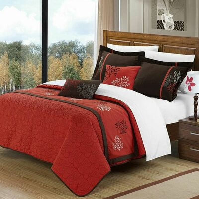 Chic Home ed ted Kirsten 10 Piece Comforter Set - Size: Queen, Color: Brick