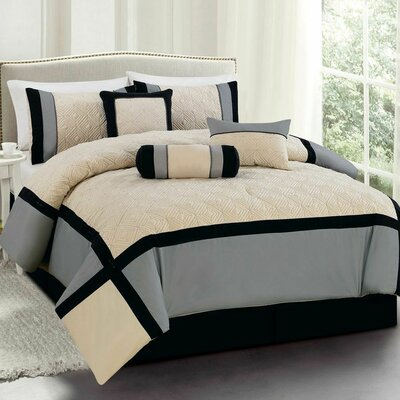 Odessa 7 Piece Comforter Set Size: King, Color: Black