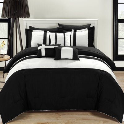 Fiesta 10 Piece Comforter Set Color: Black, Size: Queen