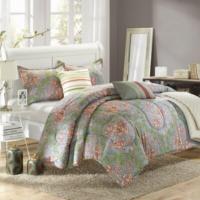 Antica 6 Piece Reversible Comforter Set Size: King