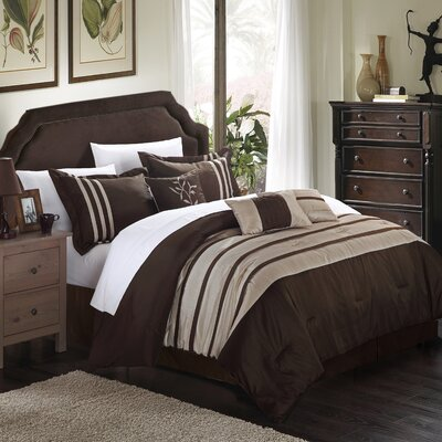Torino Pleated Piecing 7 Piece Comforter Set Color: Taupe, Size: Queen