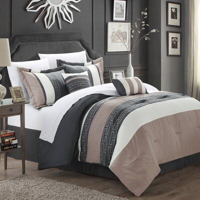Luella 10 Piece Comforter Set Color: Taupe, Size: Queen