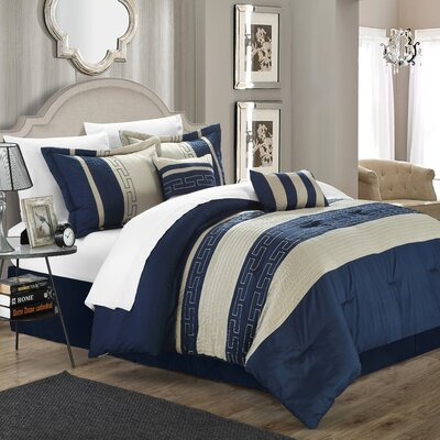 Luella 10 Piece Comforter Set Color: Navy, Size: Queen