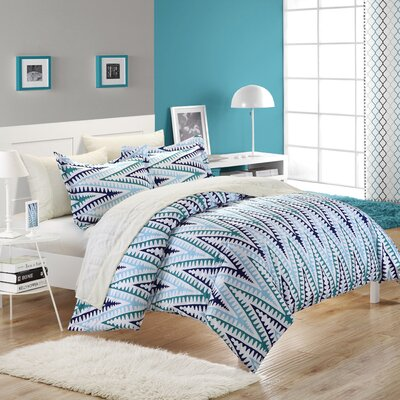Selina 3 Piece Duvet Cover Set Color: White / Blue, Size: King