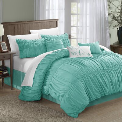 Francesca 7 Piece Comforter Set Size: Queen, Color: Teal