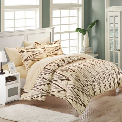 Selina 7 Piece Duvet Cover Set Size: Full, Color: Sand