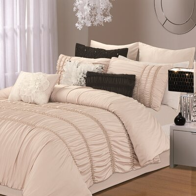 Romantica 9 Piece Comforter Set Color: Taupe, Size: Queen