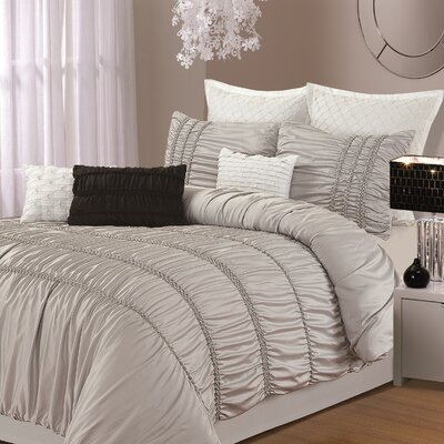 Chic Home Romantica 9-piece Comforter Set, Queen Size, Silver; Sheet Set, Bedskirt, Shams and Decorative Pillow Included