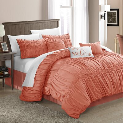 Chic Home Francesca 7-Piece Comforter Set Pleated and Ruffled Queen Size Peach; Bedskirt, Shams and Decorative Pillows Included