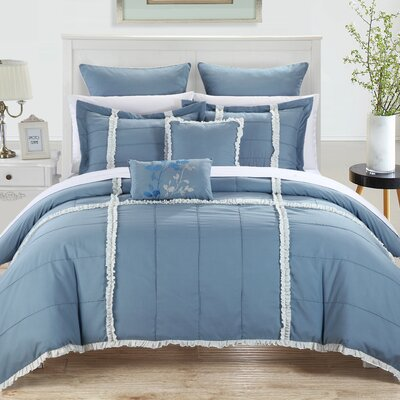 Legend 7 Piece Comforter Set Color: Blue, Size: Queen