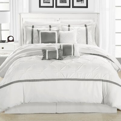Charissa Glam 12 Piece Comforter Set Color: White / Silver, Size: Queen
